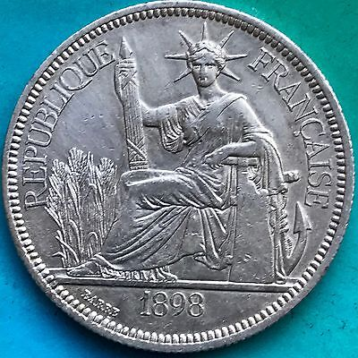 Better Date 1898 Silver French Indo-China Piastre KM# 5a.1. Cleaned Coin