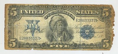 1899 $5 Five Dollar Bill Chief Onepapa Running Antelope Silver Certificate Note