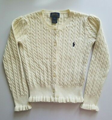Ralph Lauren POLO Girls Cable Sweater Cardigan Size 6