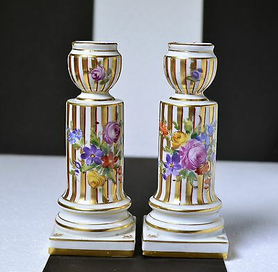Antique 19th century French Hand Painted Porcelain Candlesticksв