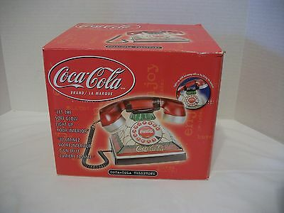 Vintage Style Coca Cola Lighted Stained Glass Look Telephone-Original Box, 2002