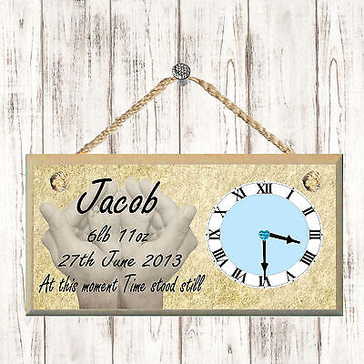 Personalised Plaque Baby Wooden Hanging Clock Keepsake Name Date Birth Gift Home