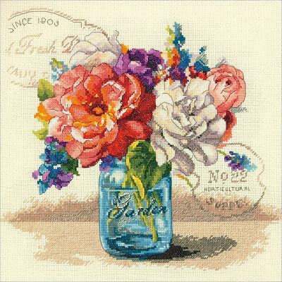 """Garden Bouquet Counted Cross Stitch Kit 12""""X12"""" 14 Count 70-35334"""
