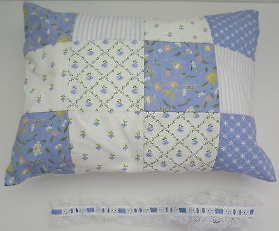 Laura Ashley Patchwork Blue Hand Quilted Pillow Cover/pillow Lace Trim Nwot