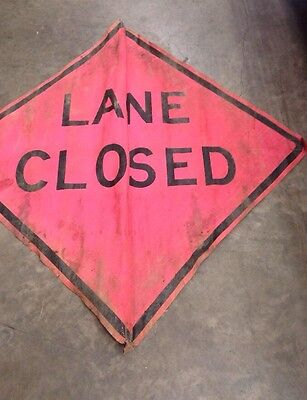 "Road Work Lane Closed Mesh Sign 48"" x 48"" Traffic W Bracket Construction"