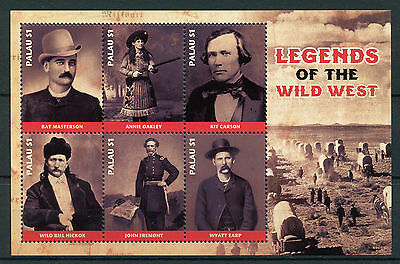 Palau 2017 MNH Wild West Legends Annie Oakley Wyatt Earp 6v M/S Stamps