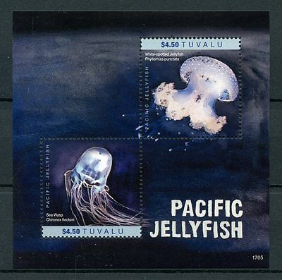 Tuvalu 2017 MNH Pacific Jellyfish 2v S/S Sea Wasp Marine Stamps
