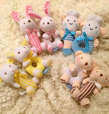 Soft Plush Cuddly Toy Rattle Soft  Baby Infant - Set of two Baby Shower