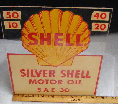 Shell GAS & OIL Decal Sign 1950-60's SILVER SHELL MOTOR OIL