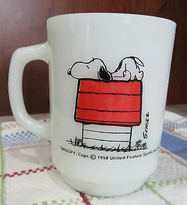 Vintage Anchor Hocking Fire King Milk Glass Snoopy Mug Allergic to Morning