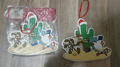 Vintage Lot of 2 1999 Wile E Coyote / Road Runner Wooden Christmas Ornaments