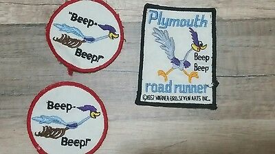 Lot of 3 Warner Brothers Road Runner Vintage patches Beep Beep