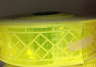 "Reflective Tape 3"" Sew-On lime yellow, Reflexite trim -Full roll"