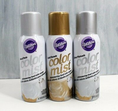 Set of 3: Pearl, Silver & Gold Wilton Metallic Color Mist Spray Can 1.5oz. Food