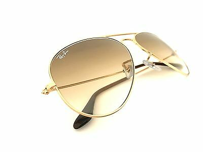 New Ray-Ban Sunglasses RB3025 Aviator 001/51 55mm Gold Frame Brown Gradient Lens