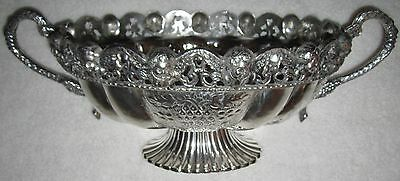 Vtg-Large-Baroque Silver Plated-Fruit Bowl-Handles-Etched Design-Cherub Border