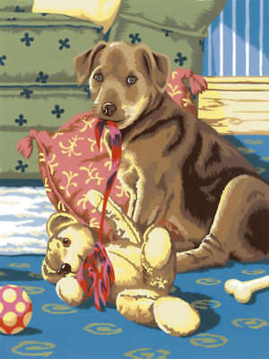 """Junior Small Paint By Number Kit 8.75""""X11.75"""" Puppy W/Teddy Bear PJS26"""