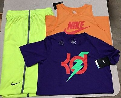 Lot Of 3 Nike Boys Shorts/Shirts KD Kevin Durant Kids Tank Top Active (Size XL)