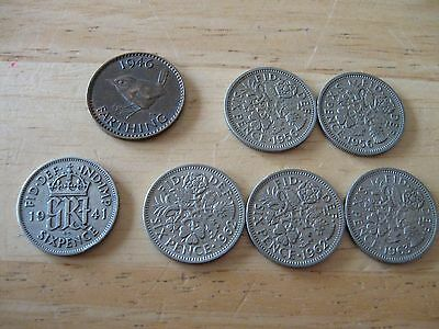 UK Great Britain 6 Pence sixpence Coin Lot Elizabeth II George VI 1941 1956 1962