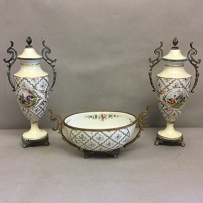 French Ormolu/Porcelain Garniture Two Vases One Oval Bowl