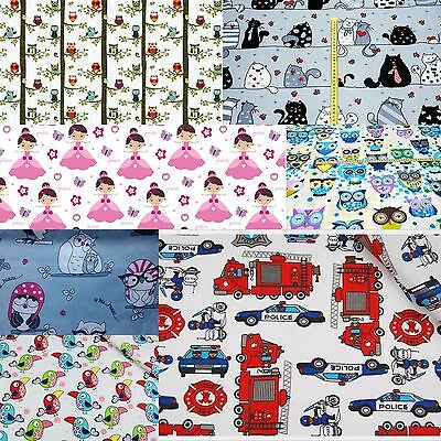 """FABRIC BABY Designs Girls/Boys 100% Cotton Fabric Material By The Metre 63""""Wide"""