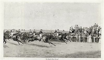 English HORSE RACING Thoroughbred Horses Jockey Rider Antique Matted 1892 Print