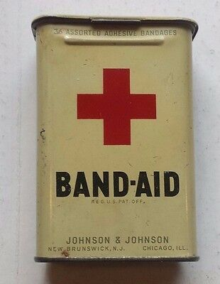 Vintage Tin Johnson & Johnson Band Aid Red Cross Container Hinged Lid