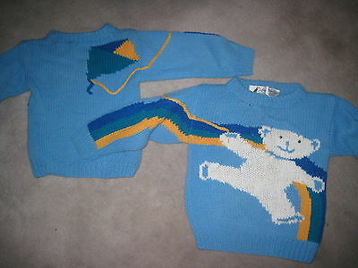 Vintage Hand Knit Teddy Bear Flying Kite Sweater   Size 4T  1989
