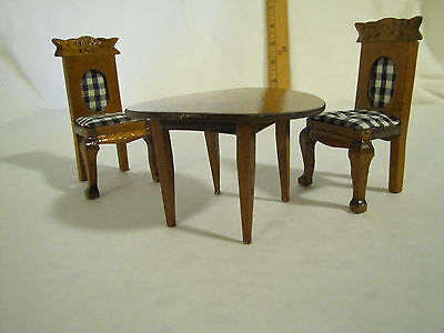 4 inch Miniature DollhouseTable with 2 Chairs Victorian Wood Furniture