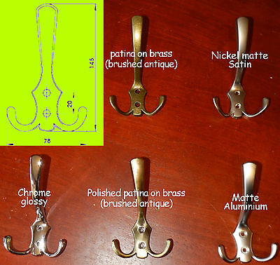 Triple robe/coat Hooks hanger Chrome/brushed antique-patina on brass/matte/satin