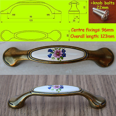 Cupboard Cabinet Door/Drawer Porcelain/China Pull Handles patina on brass P14C01