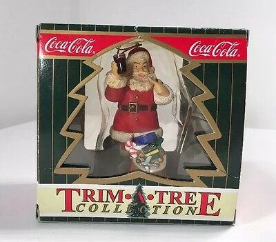 Coca-Cola Trim A Tree Collection Santa with Toy Bag Christmas Ornament 1999 SEE