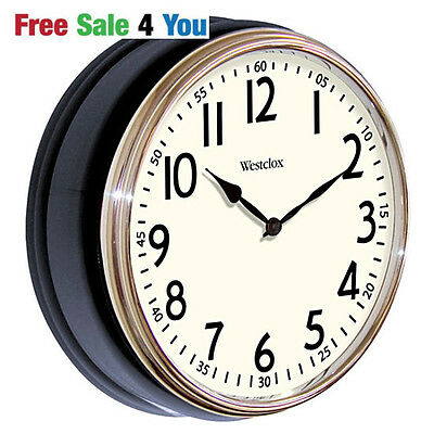 """Westclox Vintage Kitchen Electric Classic 12"""" round Wall Clock Flat Glass WHITE"""