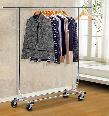 Telescopic Clothing Garment Collapsible Salesman Rolling Rack Hanger,Silver