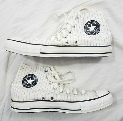 Converse All Stars Chuck Taylor Men Women White High Top Striped Sneakers 10 12