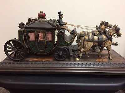 Unique Carved Wood Horse-Drawn Carriage Music Box from WWII Europe - Rare Find!
