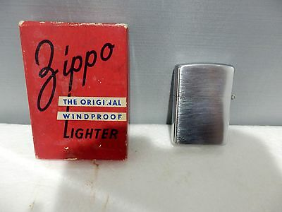 VINTAGE 1940's ZIPPO WINDPROOF LIGHTER WITH BOX 3 BARREL HINGE UNTESTED