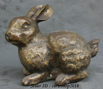 """9"""" Old Chinese Bronze Copper Feng Shui 12 Zodiac Year Rabbit Animal Lucky Statue"""
