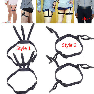 Pair Mens Shirt Stays Garters Leg Suspenders Elastic Belt Non-slip Locking Clamp