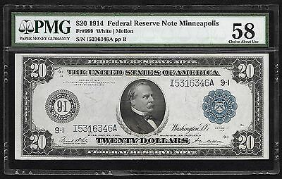 "1914 $20 Frn Fr#999 ""minneapolis"" Pmg Choice/au/about/unc-58"