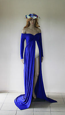 Royal Blue Open Front Maternity Dress - Photography Photo Prop - Size 10-14