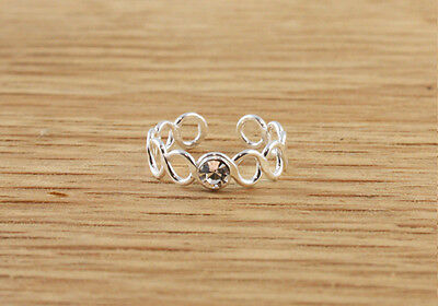 Clear CZ Beautiful Circle Design Sterling Silver Toe Ring Simple Funky Cute