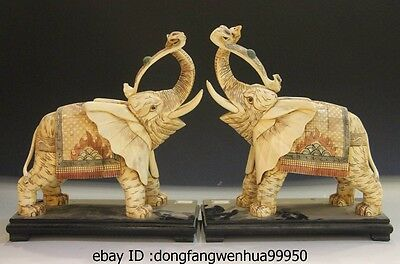 Chinese Cattle Bone Painted Handmade Carved Aniaml Fu Elephant Ru Yi Statue Pair