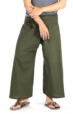 Thai Fisherman Pants Nepal Thailand Cotton Green Black Yoga Meditation Trouser