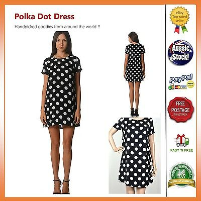 Chiffon Polka Dot Petite Size 8 10 12 Dress Retro 60s Summer Beach Casual Wear