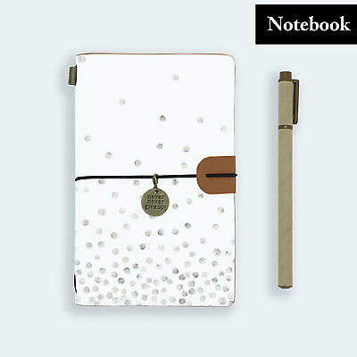 Genuine Leather Journal Travel Diary Travelers Notebook Size Polka Dot Silver