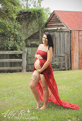 Burgundy Strapless Lace Maternity Dress Gown - Photography Photo Prop -Size 8-12