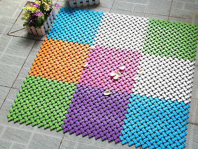 New DIY Candy-colored Stitching Shower Tub Bathroom Bath Mat Non-Slip Rug
