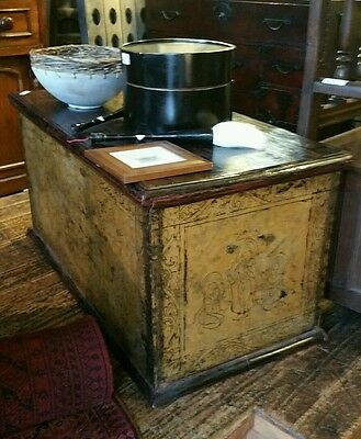 $400 OFF. Sth Melb Large antique gilt Asian trunk chest wooden box storage.