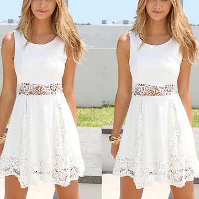 Women Summer Casual Sleeveless Lace Party Evening Cocktail Short Mini Dress